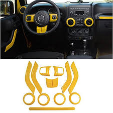 opall full set interior decoration yellow trim kit for jeep wrangler jk jku 2011 2018