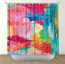 items similar to the return bold pink fine art painting shower curtain washable fl home decor lovely feminine pink blue rain cloud modern style