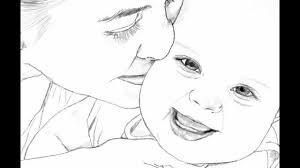 Mother And Baby Drawing Youtube