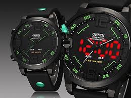 OHSEN Men Waterproof Military <b>Sport</b> Digital LED <b>Silicone Band</b> ...