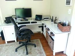 glass home office desk. Long Home Office Desk Interior White Wooden Corner Glass Top Storage Combined Black Chair Arm Rest Wheels Gray Rug Extra N