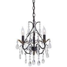 3 light castlewood walnut mini chandelier
