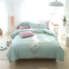cotton embroidered duvet cover set noble modern bedding king queen size blue green white bed sheet
