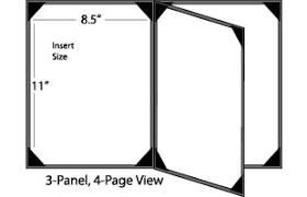 Menu Cover Holds 4 8 5 X 11 Menus Photo Album Corners 3 Panel Black
