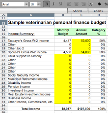 personal finance excel sample veterinarian personal finance budget excel file download