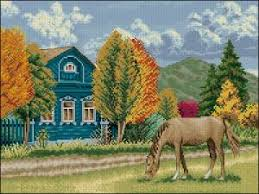 Схема Осень в деревне | Рукодельница.org — Вышивка крестом: бесплатные  схемы для вышивания крестиком; магазин товаров для рукоделия