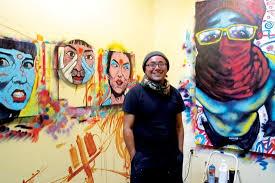 Artist and Big Brain finalist Jeff Slim in his Grand Avenue studio.