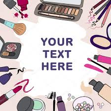 background frame with makeup cosmetics s and ss stock ilration