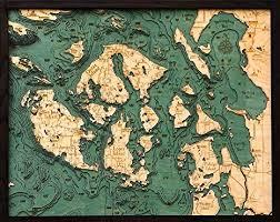 Nautical Charts San Juan Islands Wa Woodchart San Juan Islands Wood Nautical Chart 24 5 X 31