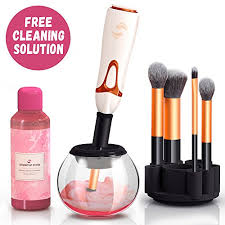 professional makeup brush cleaner automatic spin makeup brush cleaner dryer machine bonus cleaning solution best electric rotating portable foundation