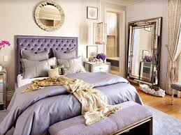 Art Deco Master Bedroom with Large hollywood regency mirror - framed floor  mirror, Tufted headboard