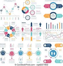 Infographic Charts Infochart Elements Marketing Chart And Graphs Bar Diagrams Step And Option Process Graph And Timeline Vector Set