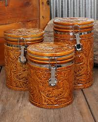 Western Rustic Decor Tooled 3 Piece Canister Set Home Decor New Arrivals