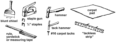 carpet laying tools. the installation 1. cut pieces of tackless strip (usually available at home depot or lowe\u0027s; comes in 4\u0027 lengths) about 1 1/2\ carpet laying tools