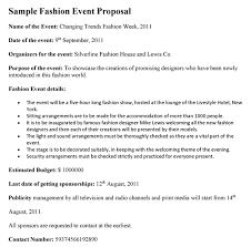 Sample Letter For Event Proposal Fashion Event Proposal