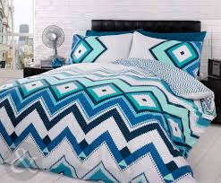 Contemporary Aztec Bedroom Decor With Aztec Duvet Cover Set, Teal Blue  White Contemporary Bedding Quilt