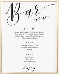 wedding drink menu. Amazing Deal on Script Bar Sign Template Wedding Bar Menu Signs