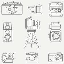 レトロなアナログ フィルム カメラでフラット ベクトル アイコンの