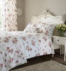 duck egg and white floral single duvet cover bed set or cushion
