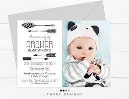 Baby Thankyou Tribal Arrow Birth Announcement Baby Thankyou Card Black And White