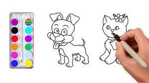 Dạy bé vẽ con vật - dạy bé vẽ tô màu con chó - dạy bé vẽ tô màu con mèo