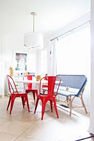 serena lily riviera bench in breakfast nook white kitchen red tolix chairs