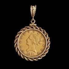 view all 3 images lot 53 1901 ten dollar gold eagle coin pendant