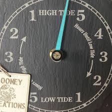 handmade driftwood and slate tide clock