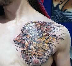 70 Lion Chest Tetování Vzory Pro Muže Fierce Zvíře Inkoustové Nápady