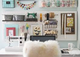 diy office art. A Beautiful, Colorful Craft Room Office Wall With Pegboard For Storage, Baskets, # Diy Art I