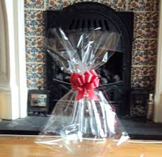 large cello bag x extra cellophane basket bags with red pull for gift baskets