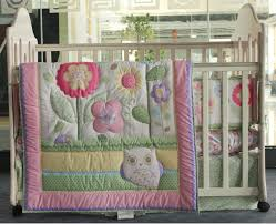 6 piece baby girl bedding set flowers owl nursery quilt per sheet crib skirt