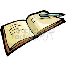 cartoon book with open pages and pen