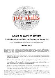 List Of Skills For Employment Pdf Fear At Work In Britain First Findings From The Skills
