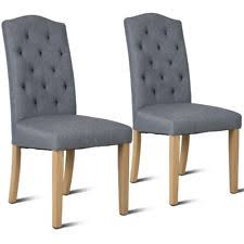 set of 2 dining chair fabric upholstered with solid wood legs dining room gray