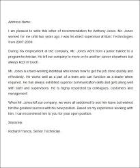 letter for recommendation employment letter of recommendation for a friend sample
