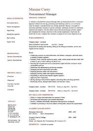 sample cv template procurement manager cv template job description sample resume