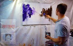 acrylic abstract cityscape painting step by step instructions and art lesson by peter dranitsin