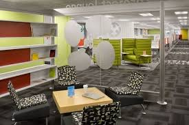 with the assistance of funky snug furnishings and vibrant daring colours that outline each work area these workplaces at the moment are the right place cool office space idea funky