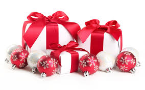 White And Red Christmas Decoration showing white christmas gift with red  fabric ribbon and