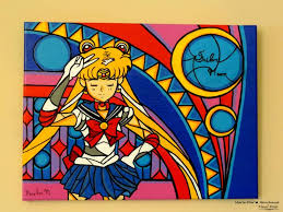 saatchi art artist marie pier marchand painting sailor moon stained glass