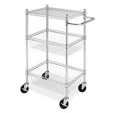 3 tier chrome wire basket shelf carts