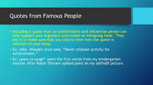 literary analysis essay hooks ppt  quotes from famous people