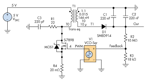 take a flier on the flyback for your high voltage circuit design 7 flyback circuit schematic t1 is a 1 10 transformer and r1 c3 forms a snubber circuit to avoid peak voltage on the transistor the pwm and the feedback