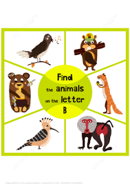 find 3 animals on the letter b puzzle game