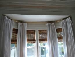 Interior Design, Ceiling Mounted Curtain Rods Bay Window: double rod curtain  rods interior ideas