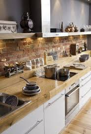 View in gallery Rustic brick backsplash 2