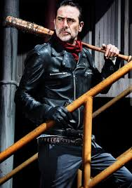 jeffrey dean morgan as negan from the walking dead in his iconic leather jacket