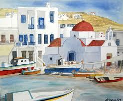 mykonos painting watercolor mykonos greece detail by cascade colors