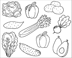 Simple fruits and vegetables coloring page for kids. Fruits And Vegetables Coloring Pages For Kids Printable Coloring Home